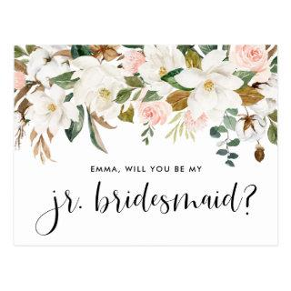 Watercolor Magnolias and Cottons Junior Bridesmaid Postcard