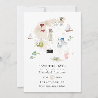 Watercolor Map of Greece Destination Wedding Save The Date