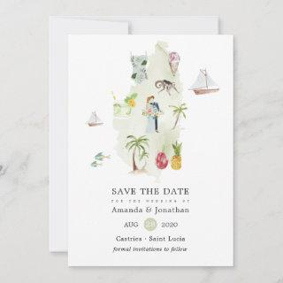 Watercolor Map of Saint Lucia Destination Wedding Save The Date