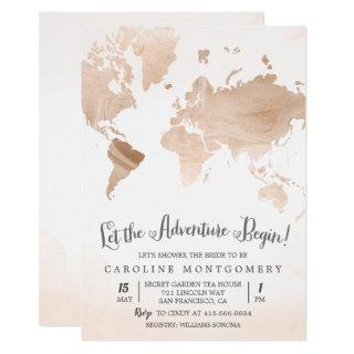 Watercolor Map Travel Bridal Shower Invitation