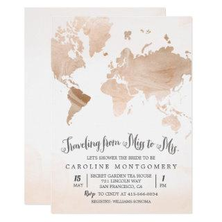 Watercolor Map Travel Bridal Shower Invitations