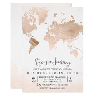 Watercolor Map Travel Couples Shower Invitations