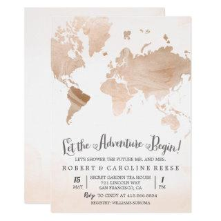 Watercolor Map Travel Couples Shower Invitation