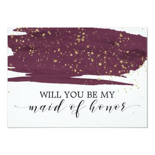 Watercolor Marsala Will You Be My Maid Of Honor Invitations