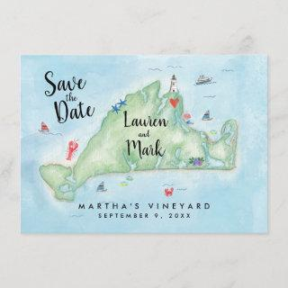 Watercolor Marthas Vineyard Map Save the Date Invitations