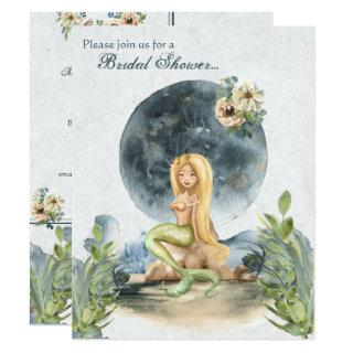 Watercolor Mermaid and Full Moon Bridal Shower Invitations