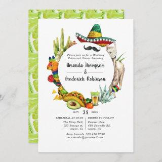 Watercolor Mexican Fiesta Rehearsal Dinner Invitation