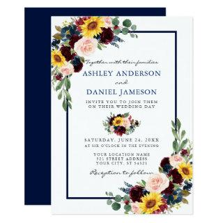 Watercolor Mixed Floral Wedding Blue Frame Invitations