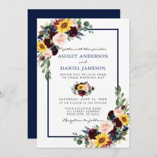 Watercolor Mixed Floral Wedding Blue Frame Invitation
