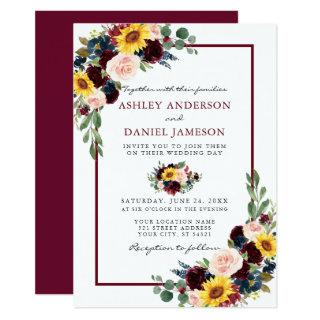 Watercolor Mixed Floral Wedding Burgundy Frame Invitations