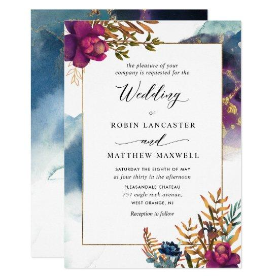 Watercolor Mystic Garden Teal, Purple Blue Invitations