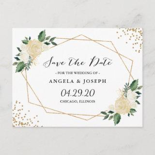 Watercolor Nature Green Gold Floral Save the Date Announcement Postcard