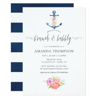 Watercolor Nautical Theme Floral Brunch and Bubbly Invitation