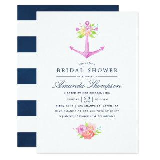 Watercolor Nautical Themed Floral Bridal Shower Invitations