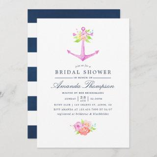 Watercolor Nautical Themed Floral Bridal Shower Invitation