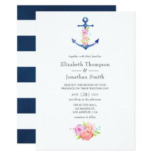 Watercolor Nautical Themed Floral Wedding Invitations