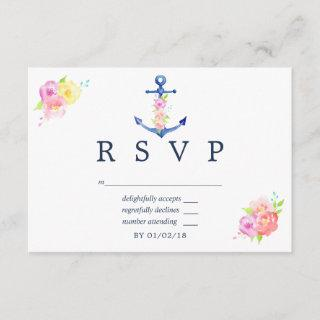 Watercolor Nautical Themed Floral Wedding RSVP