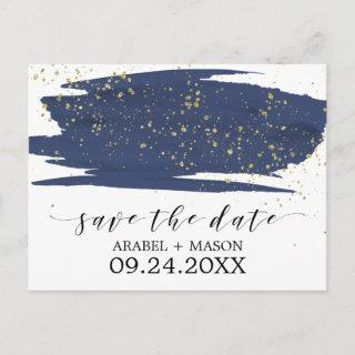 Watercolor Navy and Gold Wedding Save the Date Announcement Postcard
