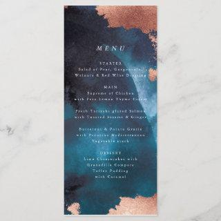 Watercolor Navy Blue Moody Rose Gold Wedding Menu