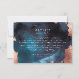 Watercolor Navy Blue Moody Rose Gold Wedding RSVP Card