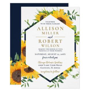 Watercolor Navy Blue Sunflower Rustic Wedding Invitations