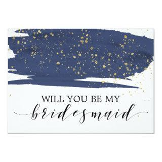 Watercolor Navy & Gold Will You Be My Bridesmaid Invitation