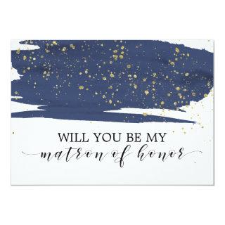 Watercolor Navy Will You Be My Matron Of Honor Invitations
