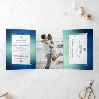 Watercolor Ocean Starfish Beach Wedding Suite Tri-Fold Invitations