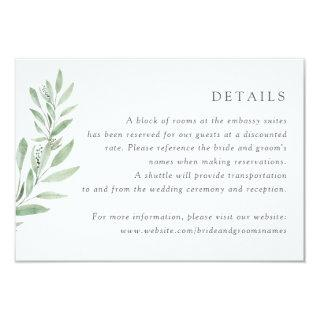Watercolor Olive Branch Greenery Leaves Details Invitations