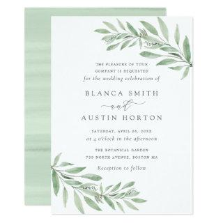 Watercolor Olive Branch Leaves Wedding Invitations