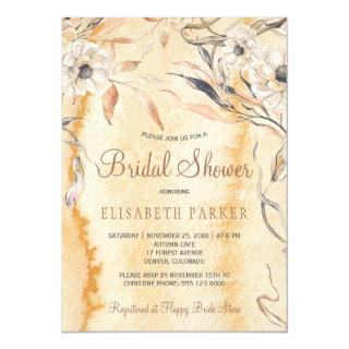 Watercolor orange washed botanical bridal shower invitation