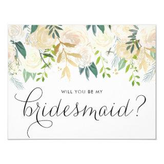 Watercolor Pale Peonies Will You Be My Bridesmaid Invitations