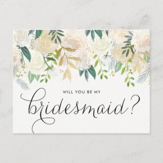Watercolor Pale Peonies Will You Be My Bridesmaid Invitations Postcard
