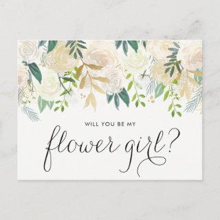 Watercolor Pale Peonies Will You Be My Flower Girl Invitations Postcard