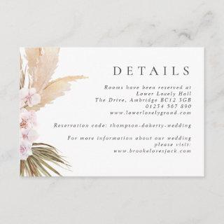 Watercolor Pampas Grass & Flowers Boho Wedding Enclosure Card