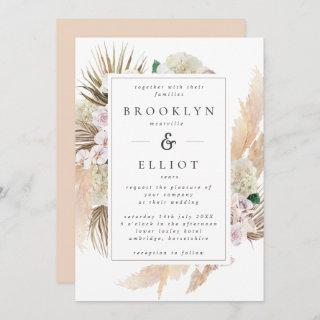 Watercolor Pampas Grass & Flowers Boho Wedding Invitations