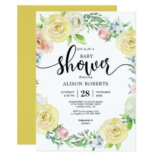 Watercolor pastel yellow wedding baby shower invitation