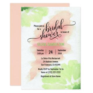 Watercolor Peach, Mint Green Wedding Bridal Shower Invitations