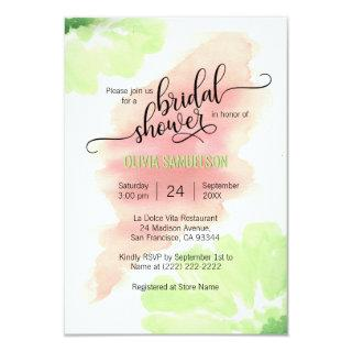 Watercolor Peach, Mint Green Wedding Bridal Shower Invitation