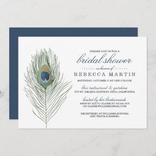 Watercolor Peacock Feather Bridal Shower Invitations