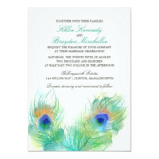 Watercolor Peacock Feather Wedding Invitation