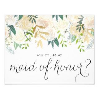 Watercolor Peonies Will You Be My Maid of Honor Invitation