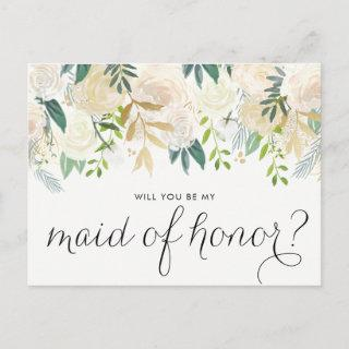 Watercolor Peonies Will You Be My Maid of Honor Invitations Postcard