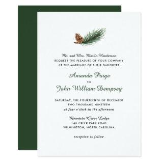 Watercolor Pine Branch Winter Pinecone Wedding Invitation