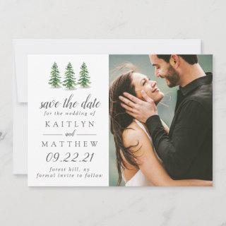 Watercolor Pine Tree Forest Wedding Save The Date