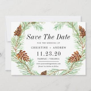 Watercolor Pinecone Elegant Simple Winter Save The Date