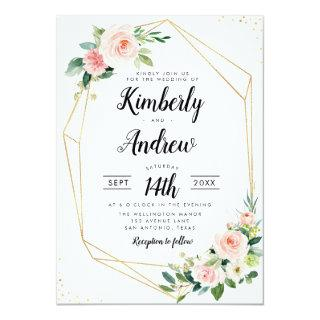 Watercolor pink blush floral geometric wedding Invitations