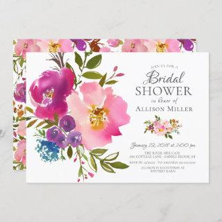 Watercolor Pink Floral Bridal Shower Invitations