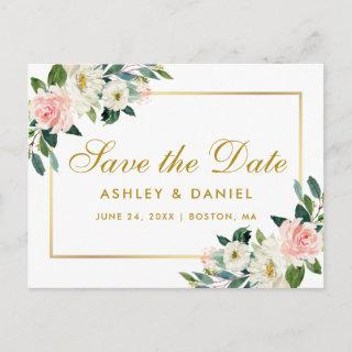 Watercolor Pink Floral Gold Save the Date Announcement Postcard