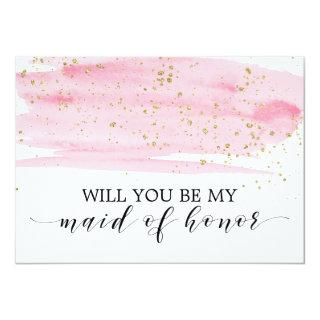 Watercolor Pink Gold Will You Be My Maid Of Honor Invitations